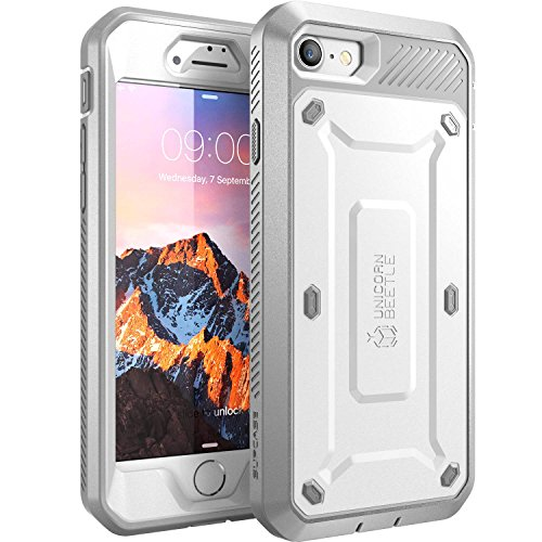 - SUPCASE Unicorn Beetle PRO Series Case for iPhone 7 , iPhone 8 , Full-body Rugged Holster Case with Built-in Screen Protector for Apple iPhone 7 2016 / iPhone 8 2017 (White)