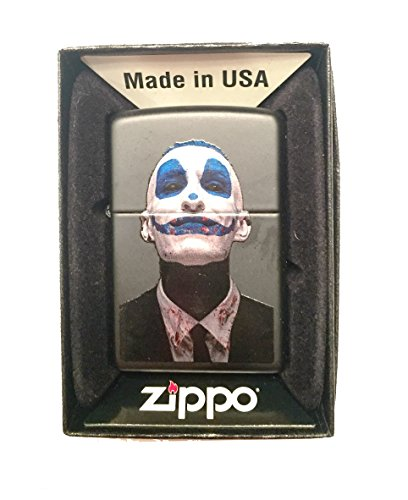 Zippo Custom Lighter - Scary Crazy Clown Evil Smile Face - Regular Black Matte]()