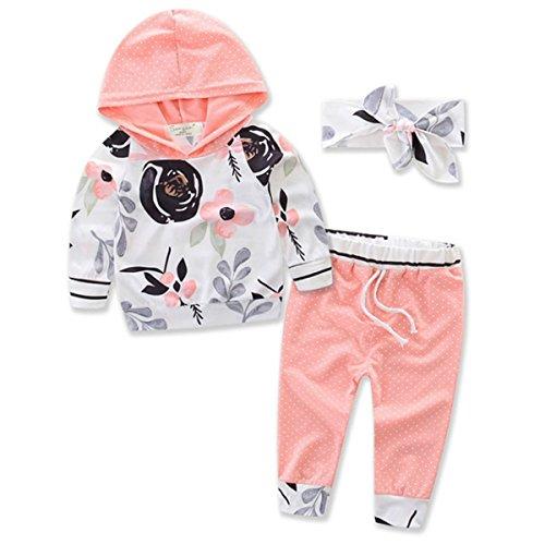 Dot Jumper Set - Newborn Baby Girls Floral Long Sleeve Hoodie Sweatshirt+Polka Dots Pants Outfits Set (0-6 Months, Pink)