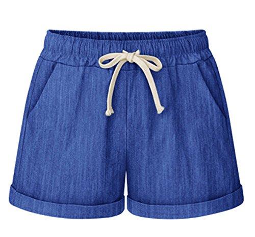 Chartou Womens Summer Casual Drawstring Waisted Linen Clothing Shorts