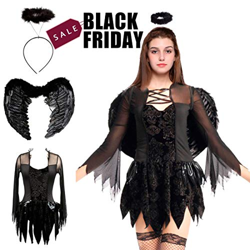 Halloween Fallen Angel Costumes Feather Wings Cosplay Halo Fancy Dress for Children Adult Women Girls,XL Black ()