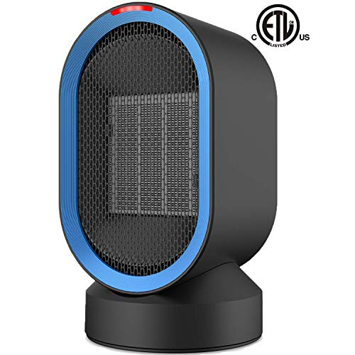 Sendowtek Ceramic Space Heater, Personal Office Heater w/Oscillation/Adjustable Modes, PTC Small Space Heater Auto Shut-Off/Overheat Protection/Quiet for Office/Indoor/Home