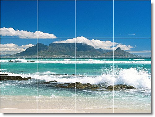 Ceramic Tile Mural-Waves Photo Kitchen Tile Mural W003. 32