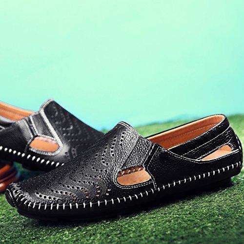 Chaussures D'Hommes Chaussures Soft En D'Été Chaussures Noir Paresseux Jeunes Conduisant Sandales Hommes Sandales Marée Lin Cuir Chaussures Exposés D'Hommes Cuir Respirant En 41 Xing Les wzHqvH