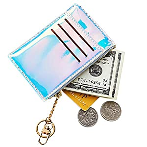 RARITYUS Unisex Slim Credit Card Holder Wallet Holographic Coin Purse with Key Ring Keychain for Girls Women Men