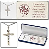 First Holy Communion John 6:35 Silver Plated 18 inch Boxed Crucifix Cross Pendant Necklace