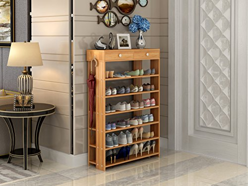 Polar Aurora Shoe Racks 7 Tiers Multi-function Economy Storage Rack Standing Shelf Organizer (Wood) by Polar Aurora (Image #2)