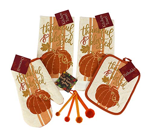 Thanksgiving Harvest Fall Pumpkins Kitchen Dish Towels and Pot Holders Set, 4 Pc.