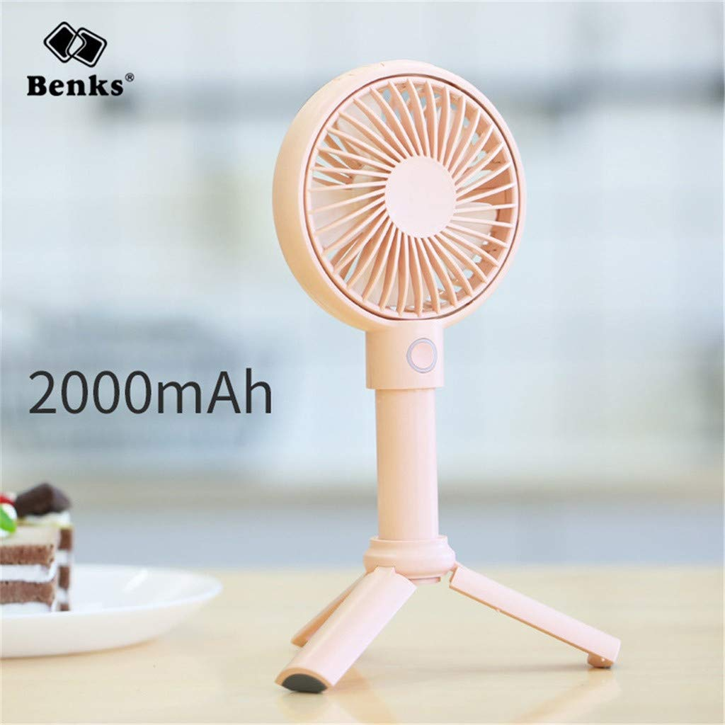 Sttech1 2019 Newest Table Fan Handheld USB Fan Portable 3 Speed Adjustable Cooler Mini Fan Rechargeable Handy Small Desk Desktop USB Cooling Fan (Pink) by Sttech1-Home (Image #2)