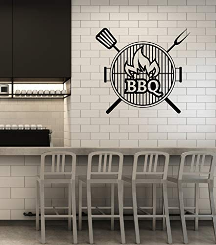 - Vinyl Wall Decal BBQ Barbecue Grill Bar Smokehouse Interior Art Stickers Mural Large Decor (ig5822) Black