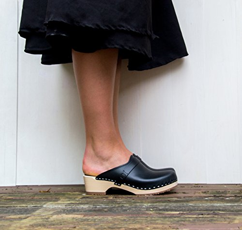Sandgrens Zweedse Lage Hak Klomp Muilezels Voor Vrouwen | Tokyo Zwart