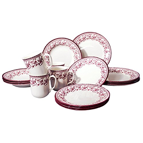 (Tudor Royal Collection 16-Piece Premium Quality Round Porcelain Dinnerware Set, Service for 4 - ASTER PINK;See 10 Designs Inside!)