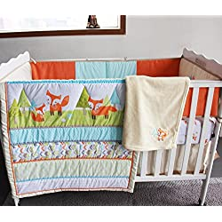 NAUGHTYBOSS Unisex Bedding Set Woodland Prairie Fox Quilt Bumper Bedskirt Fitted Blanket 8 Pieces Color Matching