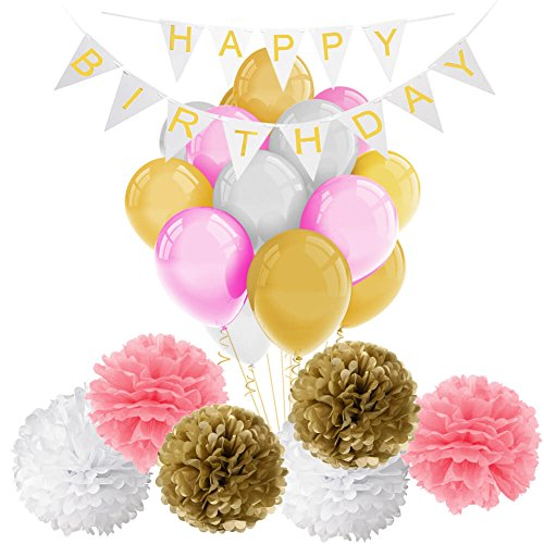 For Sale! Pink and Gold Happy Birthday Banner with Balloons and Tissue Paper Pom Poms Flowers for Pa...