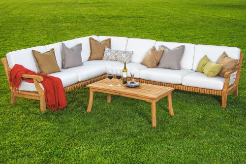 Giva Grade-A Teak Wood Luxurious 5pc Sectional Sofa Set Collection - 2 Sofas(Left & Right), 1 Lounge Armless Chair, 1 Corner Piece & 1 Coffee Table - Furniture Only #TSSSSGV (Teak Wood Sofa Set)