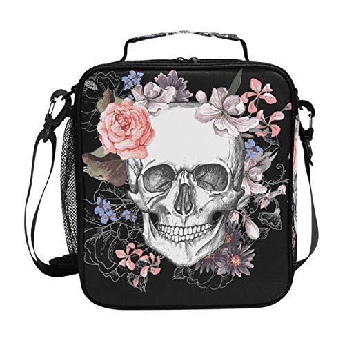 MAHU Lunch Bag Box Vintage Day Of The Dead Skull Lunchbox Zipper Insulated Cooler Ice Pack Tote Bag with Shoulder Strap for Women Men Male Female