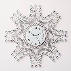 BABYQUEEN Minimalist Wall Clock Decorated Living Room Innovative Contemporary European Style Mute Quartz Clock Silver