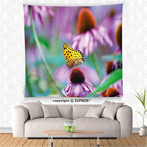 VROSELV custom tapestry Garden Tapestry Monarch Butterfly on Coneflowers Wildlife Bugs Plants Rural Scenery Photo Wall Hanging for Bedroom Living Room DormFuchsia Yellow (Big Sky Coneflower)