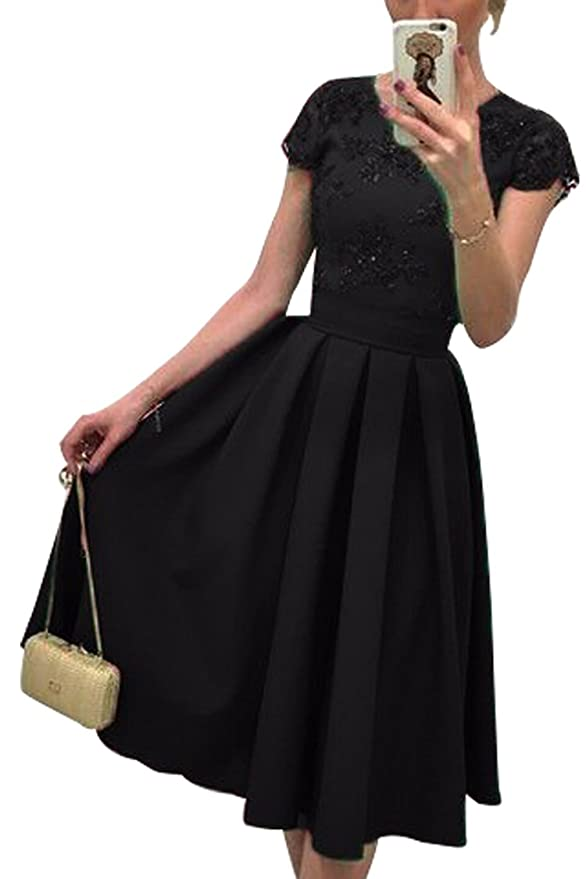 c4838ca95db Mogra Womens Backless Pleated High Waisted Embroidered Swing Cocktail Dress  at Amazon Women s Clothing store
