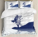 Nature Duvet Cover Set King Size by Ambesonne, Silhouette of Lonely Tree by Lake with Mirror Effects Melancholy Illustration, Decorative 3 Piece Bedding Set with 2 Pillow Shams, Indigo Baby Blue