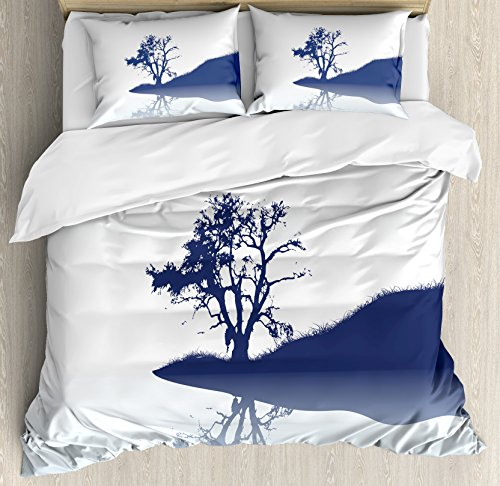 Nature Duvet Cover Set King Size by Ambesonne, Silhouette of Lonely Tree by Lake with Mirror Effects Melancholy Illustration, Decorative 3 Piece Bedding Set with 2 Pillow Shams, Indigo Baby Blue by Ambesonne