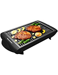 Excelvan Indoor Electric Classic Plate Barbecue Grill Adjustable Temperature Easy Clean, 1120W, Black