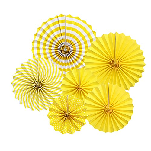 Zilue Hanging Yellow Paper Fans Decoration Kit Round Paper Garlands Wedding Birthday Party Baby Showers Events Accessories Set of 6 -