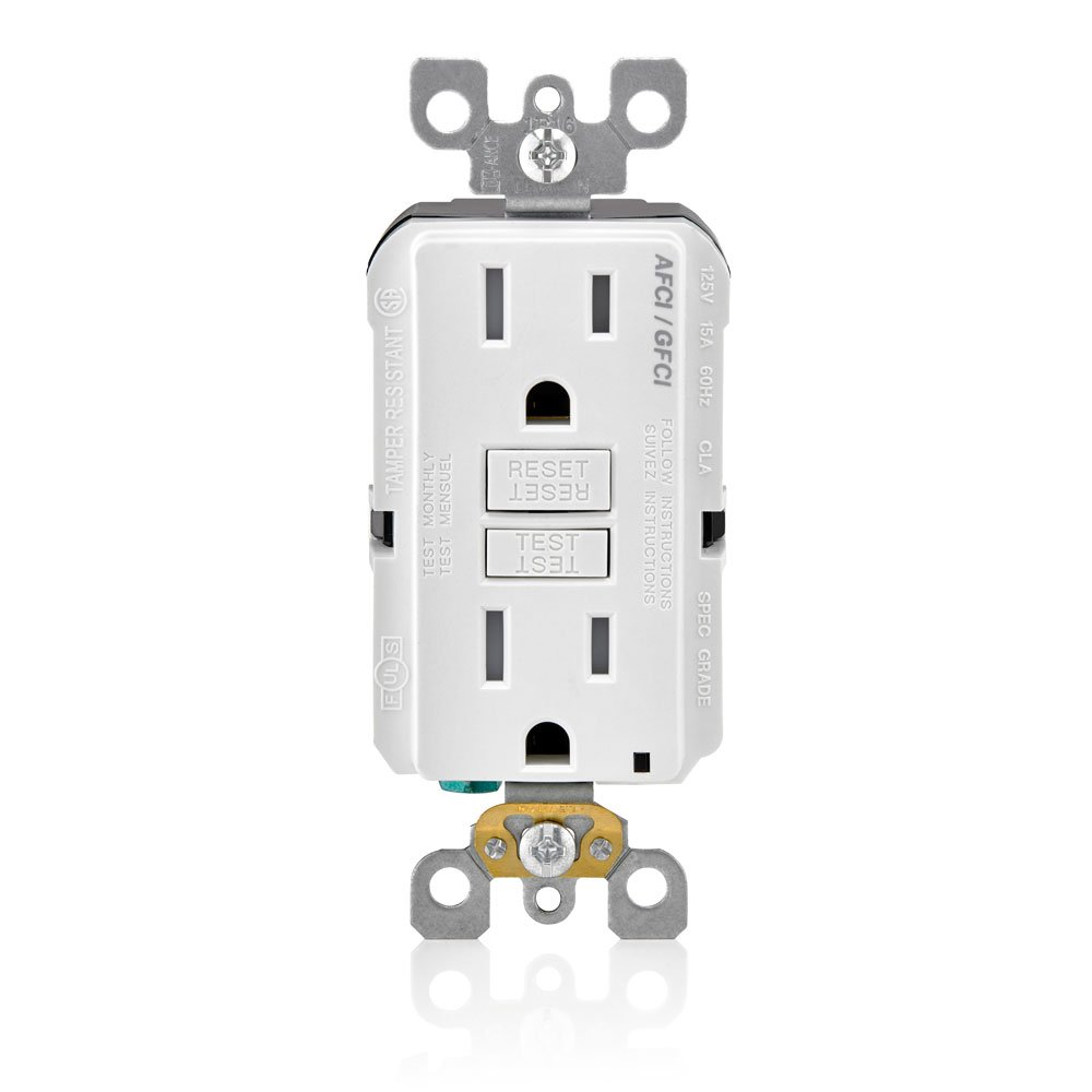 Leviton AGTR1-W SmartlockPro Dual Function AFCI/GFCI Receptacle, 15  Amp/125V, White - - Amazon.com