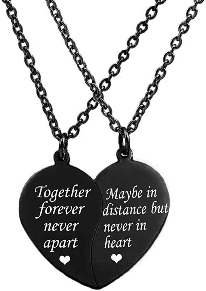 MJartoria BFF Necklace for 2-Split Valentine Heart Necklace Together Forever Never Apart Best Friends Pendant Friendship Necklace Set of 2 Gifts for Her