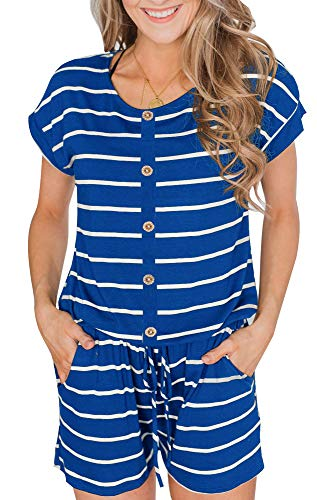 BOCOTUBE Women's Summer Casual Short Sleeve Striped Front Button Loose Jumpsuit Rompers with Pockets - Front Button Suit