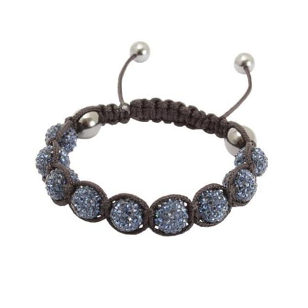 Ofuscado Unisex azul tachonado de cuentas de cristal de arcilla 9 de Shamballa pulsera de la amistad ajustable - en caja de regalo