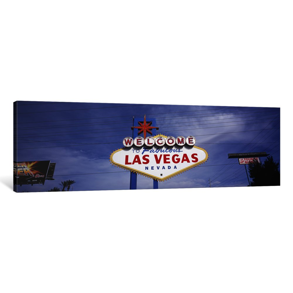Nevada USA Canvas Print by Panoramic Images 16 x 48 x 1.5-Inch Las Vegas iCanvasART 3 Piece Low Angle View of Welcome Sign