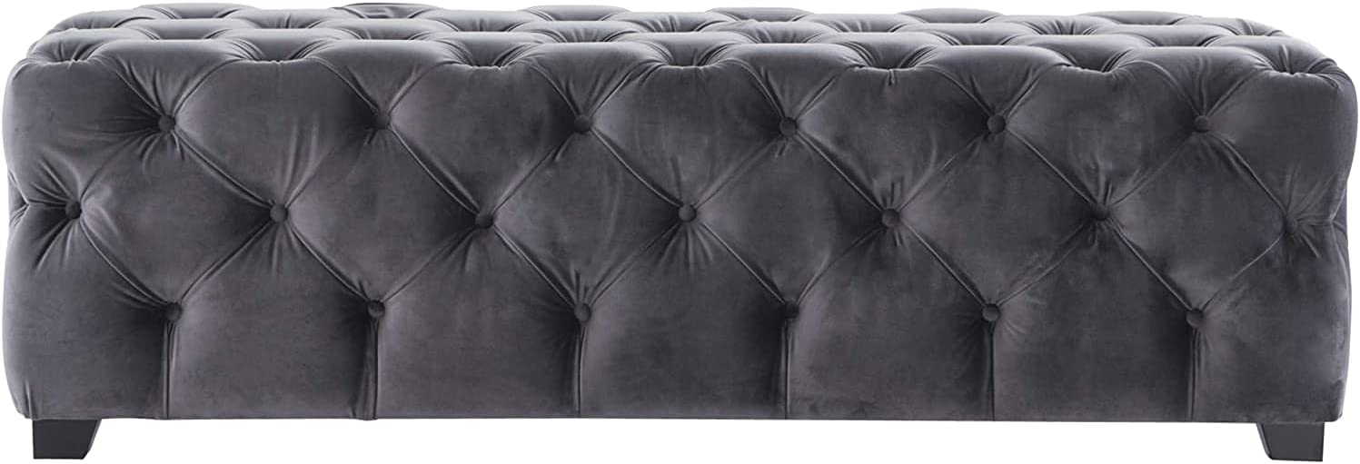 Provence Grey Tufted Velvet Fabric Rectangle Ottoman Bench (( New ) Rectangle, ( New ) Grey)