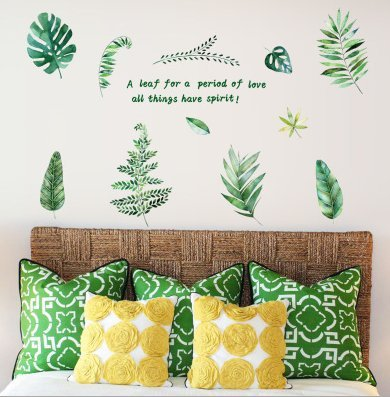Wall Sticker SoungNerly Wall Decoration Personality Living Room Bedroom English Green Plant Fresh TV Sofa Bed Background Painting, English Leaves