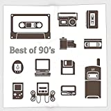 Cotton Microfiber Hand Towel,90s,Gadget of 90s Icons Pattern With Desktop Computer Video Game Joystick Nostalgia Theme Print,Brown,for Kids, Teens, and Adults,One Side Printing