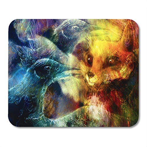 Boszina Mouse Pads Painting Colorful Animal The Phoenix Bird and Fox Collage Green Spirit Beautiful Mouse Pad for notebooks,Desktop Computers mats 9.5