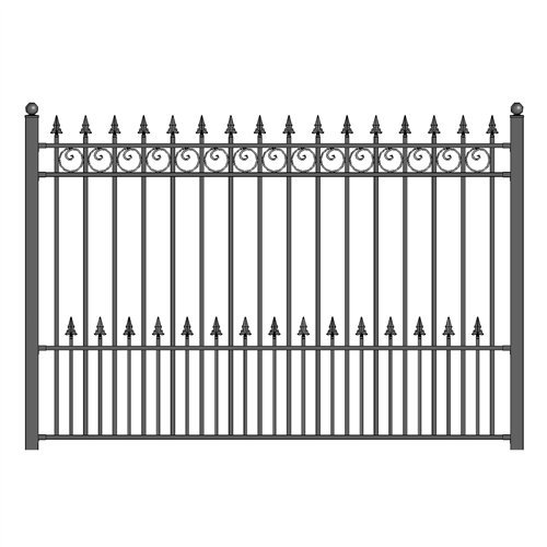 ALEKO FENCEPRADIY5X5.5 Prague Style DIY Galvanized Steel Fence Ornamental Security 5.5 x 5 Feet ()