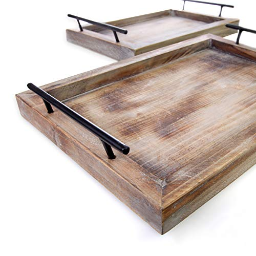 Bison Home Goods Wooden Serving Trays with Handles (2 Pc. Set) Rustic, Farmhouse Wood Butler Platters | Serve Breakfast, Appetizer, Coffee, Bar, and Food | Party or Display - Tray Rustic Large