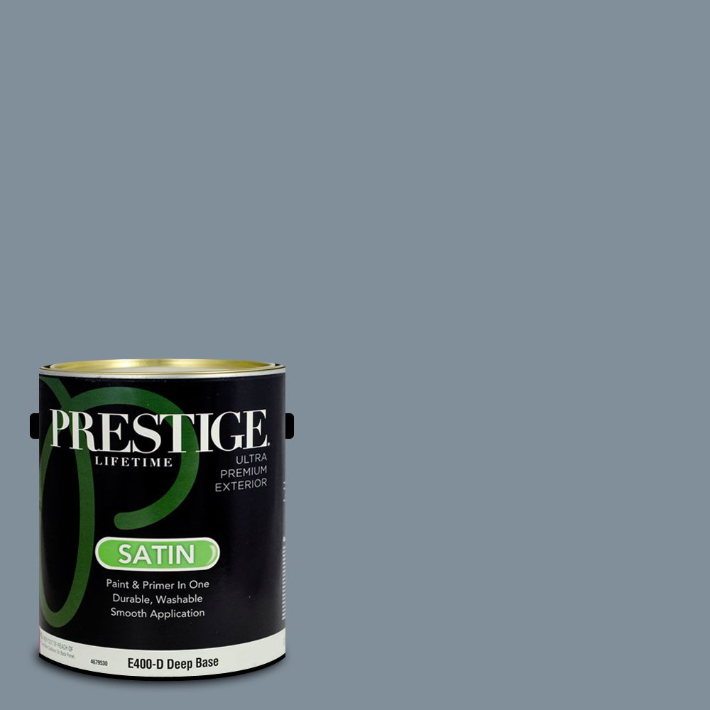 Prestige Paints Exterior Paint and Primer In One, 1-Gallon, Satin,  Comparable Match of Behr Cold Steel