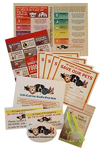 Keep Your Pet Safe Value Bundle - 4 Fire Safety Window Decals, 2 In Case of Emergency Wallet Cards, 2 Tick Removers, Foods to Avoid Magnet, Top 10 Emergencies, Bonus Fridge Magnet by Charley's Gang ()