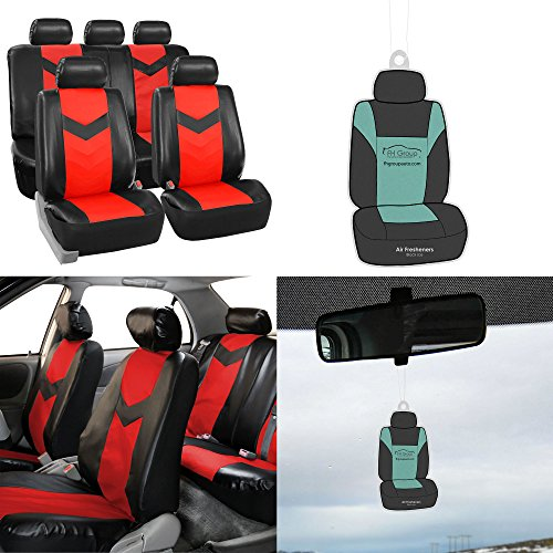 FH Group PU021115 Synthetic Leather Full Set Auto Seat Covers w. Free Air Freshener, Red/Black Color (Minimal Black Stains Final Sale) (1998 Jeep Grand Cherokee Limited For Sale)