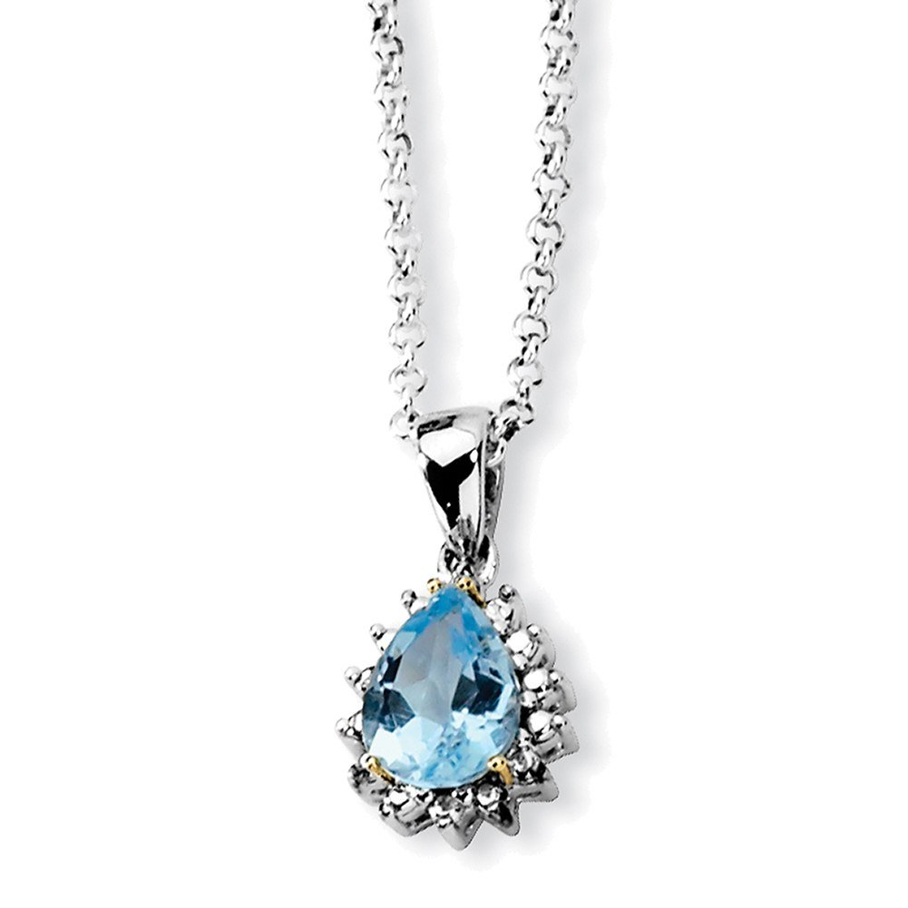 Lex & Lu Sterling Silver & 14K Sky Blue Topaz & Diamond Necklace LAL45322 LALQG2737-18