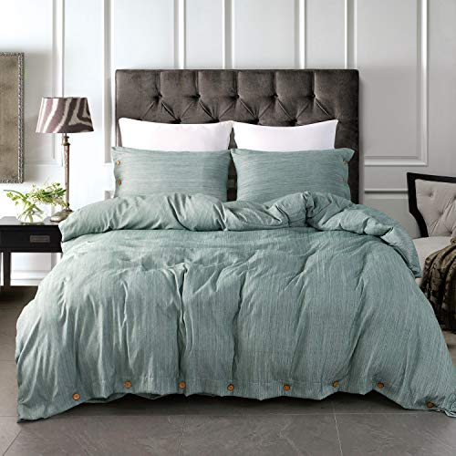 JELLYMONI Green Duvet Cover Set,3-in-1 Luxury Button Bedding Set,Ultra Soft Breathable Hypoallergenic Microfiber, Easy Care,Simple Style,Solid Color Duvet Cover Queen Size(90