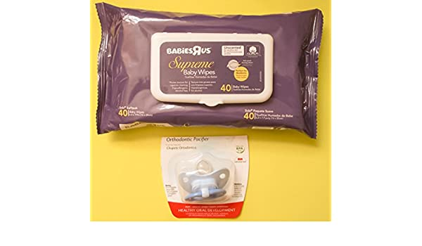 Amazon.com : BPA Free Natural Shape Orthodontic Pacifier with 40 Hypoallergenic Alcohol Free Supreme Baby Wipes : Baby
