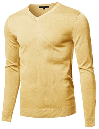 (Youstar Casual Solid Soft Knitted Long Sleeve V-Neck Sweater Yellow Size L)