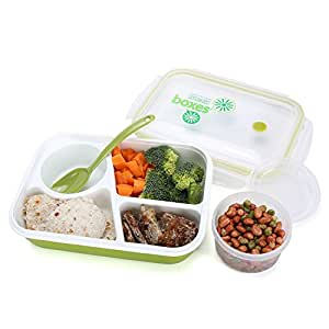 Bento Box Lunch Box 3-compartment 1-bowl (4 in 1) 1- Spoon - Silicone Leakproof Healthy Lunch Boxes for Kids Adults - Food Grade Plastic Containers Crisper - Special Smart Valve Microwave-safe Green