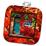 3dRose Beverly Turner Autumn Design - Aqua Door, Pumpkin, Watering Can, Window with Leaves, Autumn Colors - 8x8 Potholder (phl_290396_1)