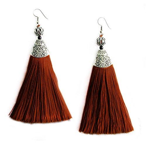 Colored Jewel - MHZ JEWELS Brown Colored Tassel Fringe Bohemian Earrings Long Drop Boho Dangle Earrings Jewelry for Women Girls