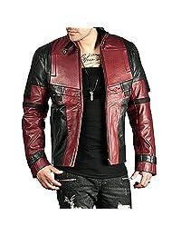 Deadpool Ryan Reynolds Wade Wilson Men's Black and Maroon Motorcycle Leather Jacket