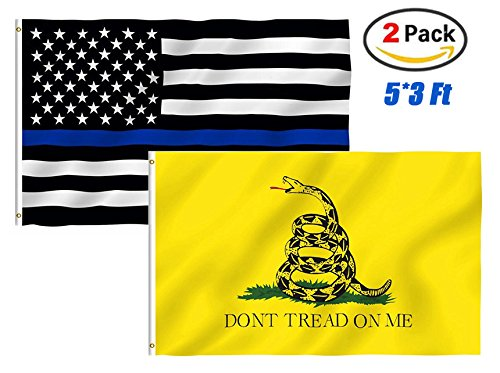 TOWEE Thin Blue Line Flag Dont Trend On Me Flag, 2 Pack 3x5 Ft 100% Polyester US Thin Blue Line Flag Police Flags Gadsden Dont Tread On Me Halloween Christmas Flags Bright Colors with Metal Grommets